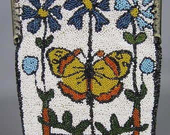 Antique Beaded 1920s Butterfly Floral Motif Purse Bag ~ Double Sided, Nice!