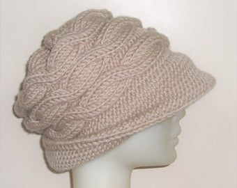 Womens winter hats with brim hat in beige hat hand knit hat cable knit hat