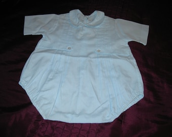 Vintage baby blue Romper for that special baby in your life.Made in the Philippines by Pastels.Great photo prop,nursery decor,collector.NB