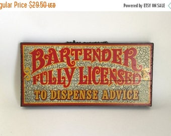 Vintage 1970's Bartender Bar Sign on Pine Wall Hanging - Retro Bar Decor