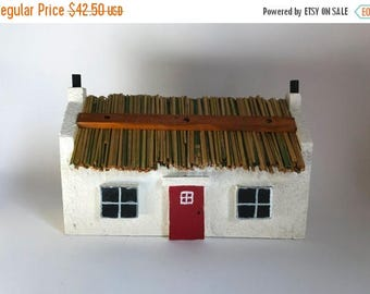 Vintage Handmade Scandinavian Style Double Sided Birdhouse with Thatched Roof by Richard LeMasters