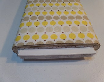 Fabric Yardage - Quilting Weight Cotton - Denyse Schmidt - Katie Jump Rope - Big Dot - Sunflower - DSQuilts - Yellow and Taupe