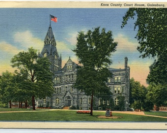 Knox County Court House Galesburg Illinois linen postcard