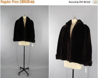 SALE - 1950s Mouton Fur Coat / 50s Fur Jacket / Chocolate Brown / Winter Wedding / Sheared Lamb / Size Small S 4