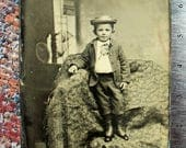 Tintype LARGE 5 x 7 - Angelic Little Boy