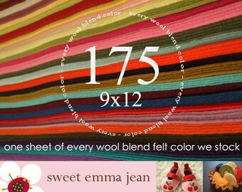 "Wool Felt - 175 9""x12"" Sheets - Special Price - One sheet of every color of Wool Blend Felt we stock"