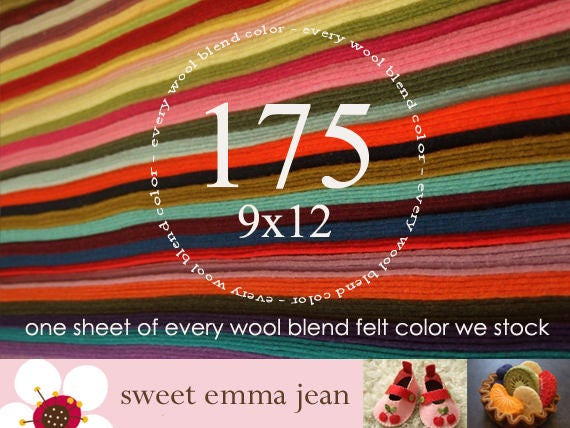 """Wool Felt - 175 9""""x12"""" Sheets - Special Price - One sheet of every color of Wool Blend Felt we stock"""