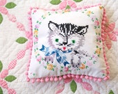 RESEREVED FOR HELEN-Kitty Embroidery Pillow- Vintage Hand Cat Embroidery- Cottage Chic Decor- Nursery Decor