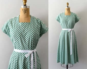 1940s Vintage Dress - 40s Green Gingham cotton Dress