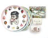 Complete Collectors Edition Just One Bite Plate Series - 4 Limited Edition Melamine Plates with Exclusive Enamel Pin - by Mab Graves