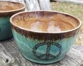 Handmade pottery Imagine Peace ceramic cafe au lait bowl French coffee bowl Tea Bowl Wheel thrown pottery bowl tea bowl cereal bowl rustic