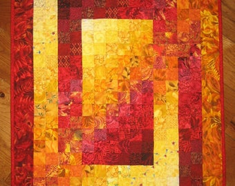 "Art Quilt, Fire Red Yellow Orange Fabric Wall Hanging Abstract Contemporary 26 x 35"" 100% cotton fabrics"