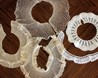 5 Lace Crochet Yokes, Bodices or Collars and  Crocheted Trim, Handmade Crochet Lot 13756