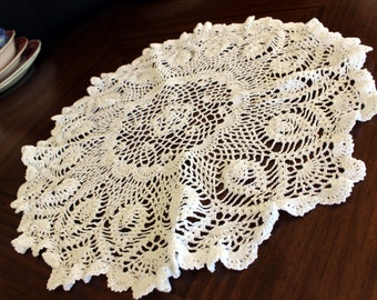 Large Openworked Doily, Crochet Centerpiece, White Crocheted Vintage Table Linens 13787