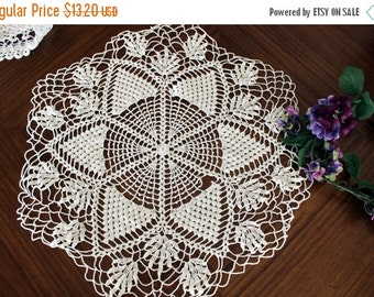 DAMAGED Large Openworked Doily, Crochet Centerpiece, White Crocheted Vintage Table Linens 13712