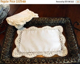 Crochet Border Fabric Center Doily or Placemat - Off White - Hand Crocheted Edge 11813