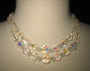 Vintage 50s Sparkling Aurora Borelis Double Strand Necklace Rhinestone Clasp