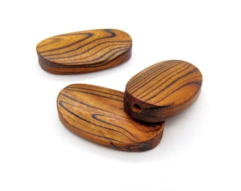 Large Oval Wooden Beads with Stripes, Oval Wood Beads, Large Wooden Beads 33x20mm/ Ø 2mm - 2 pcs