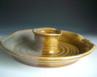 Hand thrown stoneware pottery chip and dip server  (CD-50
