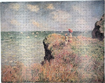 """New Hand Cut Wooden Monet """"The Cliff Walk"""" 605 piece Jigsaw Puzzle in plywood box"""
