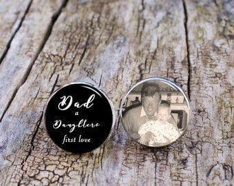 Dad a daughters first love , Memory Cufflinks, Photo Cufflinks, Father of the Bride Cufflinks, Personalised cufflinks, Dad Cuff Links, 925