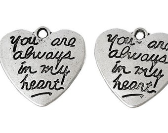 You are always in my Heart silver charm, Bouquet charm, DIY charm, DIY Photo charms