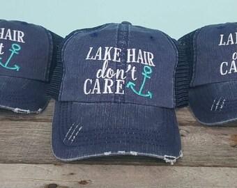 Lake Hair Don't Care Monogrammed Trucker Hat- Lake Life Apparel