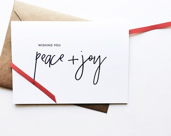 wishing you peace + joy holiday card (set of 8) | corporate holiday card | customizable | recycled | christmas business card