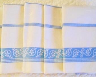 Vintage Towels Set of 5 Blue/White Damask Tea/Kitchen Unused