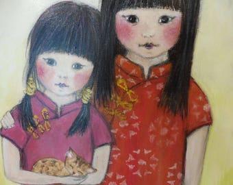 Chinese Girl Red Lantern Sisters Cat Kitten Original Painting Acrylic Art