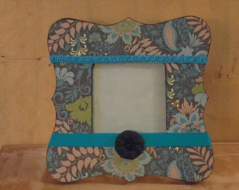 Black and Teal Paisley Floral Decoupaged Picture Frame