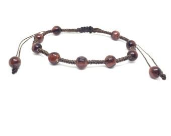 Red Tiger Eye Gemstone BEADED Fair Trade Wax COTTON Womens Thai Jewelry Wristband Bracelet