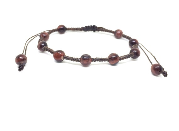 Red Tiger Eye Gemstone BEADED Fair Trade Wax COTTON Womens Thai Jewelry Wristband Bracelet