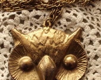 Large Brass Owl Pendant Necklace