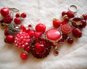 Chunky Red Charm Bracelet Reworked Vintage Earrings Beads Rhinestones FREE SHIPPING