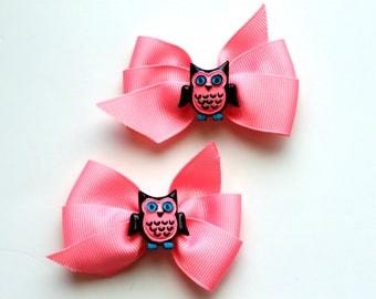 Pink Owl Pinwheel Bows