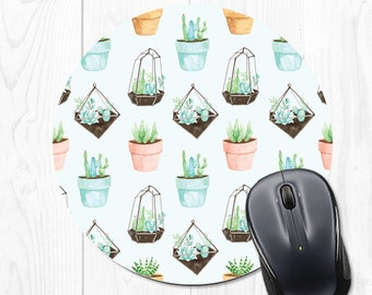 mouse pad coworker gift for coworker christmas gift for coworker mousepad cactus mousepad employee gift office decor office desk blue