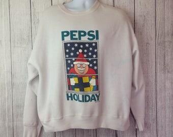 Vintage 90s Pepsi Santa Ugly Christmas Sweater Sweatshirt Adult XL