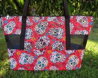 "Pet Carrier""Sugar Skulls on Red"" Shoulder Style-READY TO SHIP"
