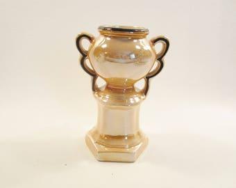Vintage Czech Trophy Vase in Peach Lustre Black Trim Double Handles Czechoslovakia
