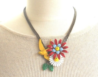 Statement Necklace colorful Flower collage Unique Necklace for her, Summer Jewelry Yellow Bird Necklace