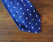 1930s 30s Cades nothing but neckwear mens polka dot tie navy with white silk