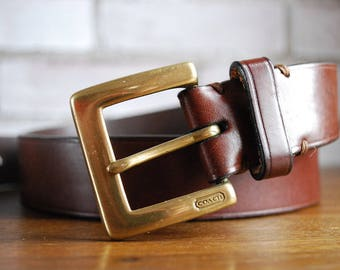 """Coach belt brown with black buckle made in Italy 1980s 90 cm 36"""""""
