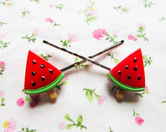 Cute Watermelon Hair Pins / Bobby Pins, Kawaii Hair Pins / Bobby Pins, Sweet Lolita, Popsicle