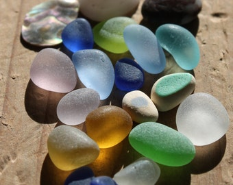 Genuine Seaglass - Vintage Found Sea Glass Blue Seafoam Green Lavender and Sea Shell