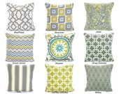 Decorative Pillow Covers, Cushion Covers,Gray Citrine Aqua Grey, Throw Pillows, Couch Bed Sofa Pillows, One or More All Sizes Mix & Match