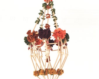Natural beauty felt + wooden bead Polish decorative chandelier (pajaki)