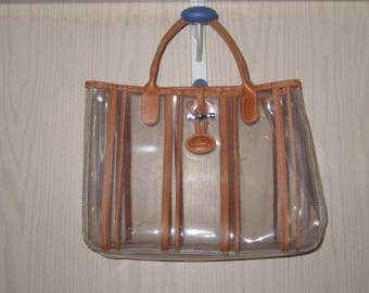 Vintage LONGCHAMP FRANCE Clear with Leather Purse Tote Bag