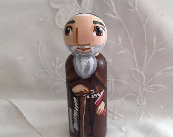 Saint Conrad of Piacenza Catholic Saint Doll - Wood Peg Statue - Made to Order