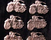 6 Pcs Motorcycle Jewelry Finding  Chrome Silver Plated Indian Chief Motorbike DIY Jewelry Making Stamping 1 1/4 Inch Wide by 1 Inch Tall